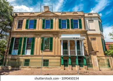JUNE 28, 2017 - Owens-Thomas House, Savannah, Georgia, site of where Marquis de Lafayette visited and spoke on white painted porch on the 50th anniversary of America in 1825
