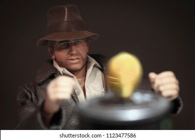 JUNE 28 2018: Recreation of a scene from Raiders of the Lost Ark where Indiana Jones takes the Golden Fertility Idol