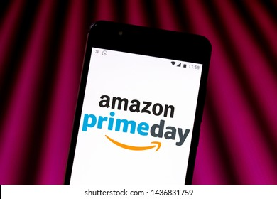 June 28, 2019, Brazil. In this photo illustration the Amazon Prime Day logo is displayed on a smartphone.