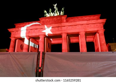 "JUNE 29, 2016 - BERLIN: the ""Brandenburger Tor"" (Brandenburg Gate) is illuminated in the colors of the turkish flag as a sign of solidarity  after the (islamistic) terror attacks in Istanbul."