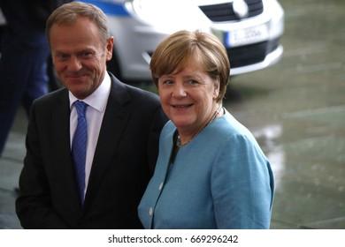 JUNE 29, 2017 - BERLIN: Donald Tusk, Angela Merkel at the European G20 Preparatorty Sumnmit in the Chanclery in Berlin.