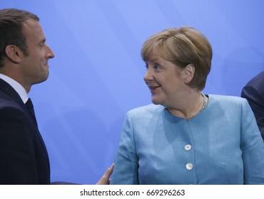 JUNE 29, 2017 - BERLIN: French President Emmanuel Macron, German Chancellor Angela Merkel at the European G20 Preparatorty Sumnmit in the Chanclery in Berlin.