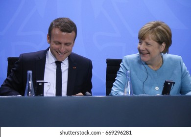 JUNE 29, 2017 - BERLIN: French President Emmanuel Macron, German Chancellor Angela Merkel at the European G20 Preparatorty Summit in the Chanclery in Berlin.