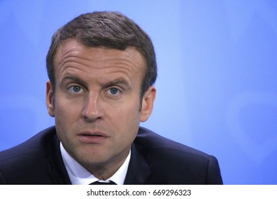 JUNE 29, 2017 - BERLIN: French President Emmanuel Macron at the European G20 Preparatorty Sumnmit in the Chanclery in Berlin.