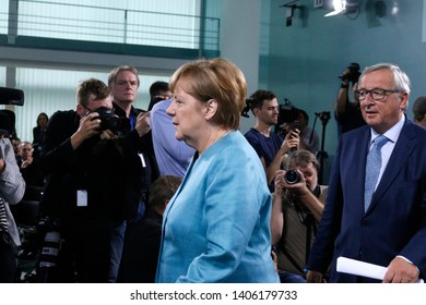 JUNE 29, 2017 - BERLIN: German Chancellor Angela Merkel, Jean Claude Juncker and others at the European G20 Preparatorty Summit in the Chanclery in Berlin.