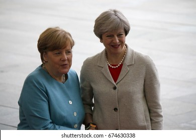 JUNE 29, 2017 - BERLIN: German Chancellor Angela Merkel, British Prime Minister Theresa May at the European G20 Preparatorty Summit in the Chanclery in Berlin.