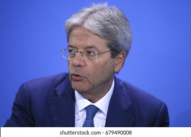 JUNE 29, 2017 - BERLIN: Italian Prime Minister Paolo Gentiloni at the European G20 Preparatorty Sumnmit in the Chanclery in Berlin.