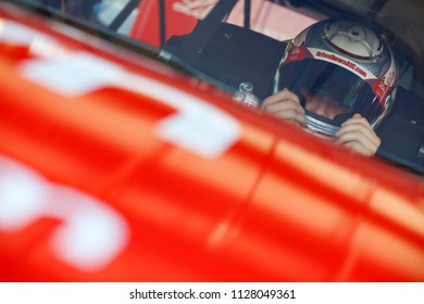 June 29, 2018 - Joliet, Illinois, USA: Ryan Reed (16) straps into his car to practice for the Overton's 300 at Chicagoland Speedway in Joliet, Illinois.
