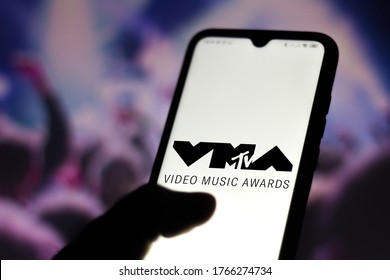 June 29, 2020, Brazil. In this photo illustration the MTV Video Music Awards (VMA) logo seen displayed on a smartphone. Is an award presented by the MTV to honor the best in the music video medium