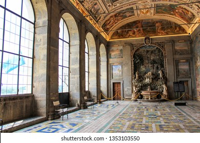 June 3, 2016 - Caprarola, Viterbo, Lazio, Italy - Villa Farnese, a Renaissance and Mannerist construction. An interior room of the building with fountain, bas-relief, large windows and arches. artwork