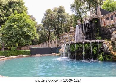 June 3, 2018 - Bagnaia, Lazio, Italy - Villa Lante is a Mannerist garden of surprise near Viterbo, central Italy, attributed to Jacopo Barozzi da Vignola. A fountain.