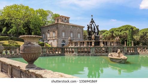June 3, 2018 - Bagnaia, Lazio, Italy - Villa Lante is a Mannerist garden of surprise near Viterbo, central Italy, attributed to Jacopo Barozzi da Vignola. The Fountain of the Four Moors.