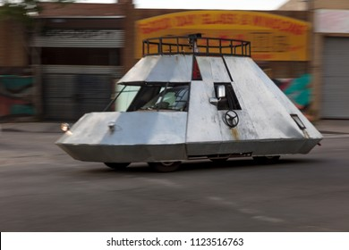 June 3, 2018 - New York, NY, USA - Spaceship automobile driving the streets of Queens and Bushwick, New York