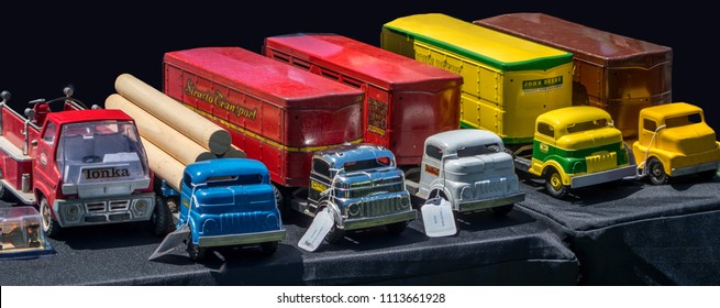 June 3 2018 St Joseph MI USA; a beautiful collection of old toy trucks and fire engine made from metal. vintage, and rare, a toy collectors dream at antiques on the bluff in Michigan