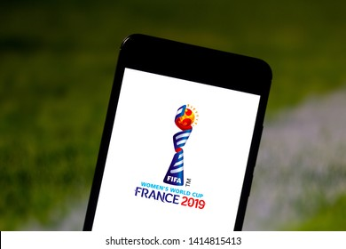 June 3, 2019, Brazil. In this photo illustration the 2019 FIFA Women's World Cup logo is displayed on a smartphone.