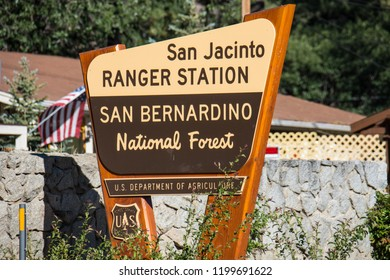 JUNE 30 2018 - IDYLLWILD, CALIFORNIA: Sign for the San Bernardino National Forest San Jacinto Ranger Station on a sunny day