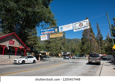 JUNE 30 2018 - IDYLLWILD, CALIFORNIA: Looking down Main Street of Idyllwild California on the Fourth of July holiday weekend, a small mountain town along the Palm to Pines Highway in the San Bernardin
