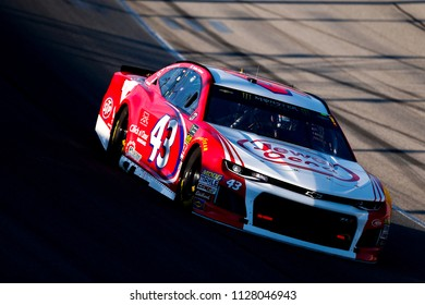 June 30, 2018 - Joliet, Illinois , USA: Darrell Wallace, Jr (43) takes to the track to qualify for the Overton's 400 at Chicagoland Speedway in Joliet, Illinois .