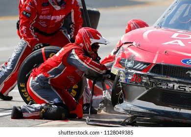 June 30, 2018 - Joliet, Illinois, USA: Ryan Reed (16) makes a pit stop for the Overton's 300 at Chicagoland Speedway in Joliet, Illinois.
