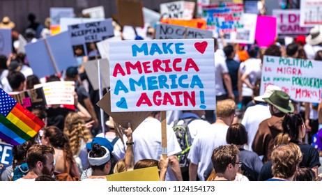 "JUNE 30, 2018 - LOS ANGELES, CALIFORNIA, USA - ""Keep Families Together"" Protest March with signs in Los Angeles, California"
