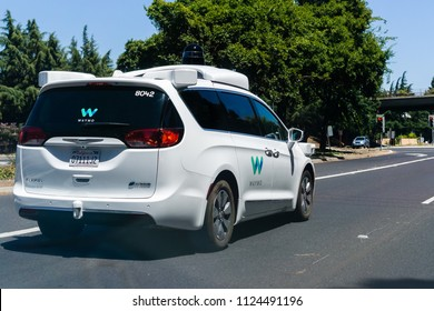 June 30, 2018 Mountain View / CA / USA - Waymo self driving car driving on a street in Silicon Valley, south San Francisco bay area
