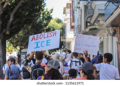 June 30, 2018 - San Francisco, California: Protesters march from Dolores Park in the Mission District to City Hall to protest the Trump administration's family separation and detention process.