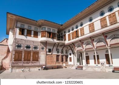 June 4, 2015. Inner yard of Harem in Topkapi palace in Istanbul, Turkey.