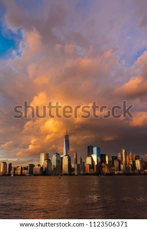 JUNE 4, 2018 - NEW YORK, NEW YORK, USA  - New York City Spectacular Sunset focuses on lower Manhattan.