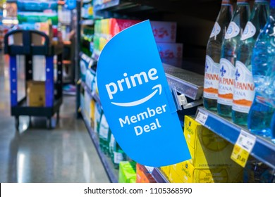 June 4, 2018 Santa Clara / CA / USA - Amazon launches offers for Prime members in the Whole Foods stores