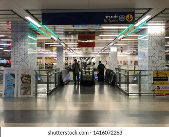 June 4, 2019 Chatujak MRT Station, Bangkok. Passenger are not only can commute with the MRT Subway in Bangkok. They are now can shopping at the Metro Mall on the MRT Platform station.
