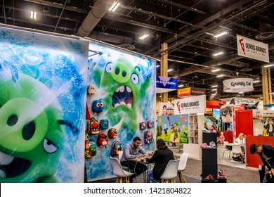 June 4, 2019, LAS VEGAS, NEVADA, USA, Show Attendees Meet at the Rovio Booth, Featuring Several Angry Birds Products at the 2019 Licensing Expo Trade Show