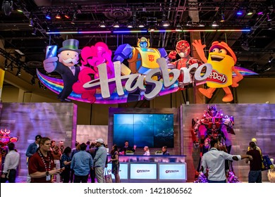 June 4, 2019, LAS VEGAS, NEVADA, USA, Hasbro Attracts Attendees to Its Colorful Booth at the 2019 Licensing Expo Trade Show