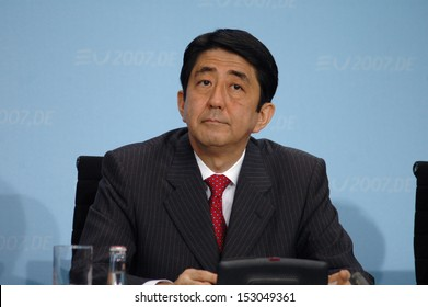 JUNE 5, 2007 - BERLIN: Japanese Prime Minister Shinzo Abe at a press conference after the EU-Japan summit in the Chanclery in Berlin.