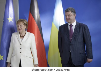 JUNE 5, 2014 - BERLIN: German Chancellor Angela Merkel and the newly elected Ukrainian President Petro Poroshenko at a press conference before a meeting in the Chanclery in Berlin.