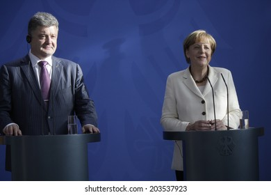 JUNE 5, 2014 - BERLIN: the newly elected Ukrainian President Petro Poroshenko and German Chancellor Angela Merkel at a press conference before a meeting in the Chanclery in Berlin.