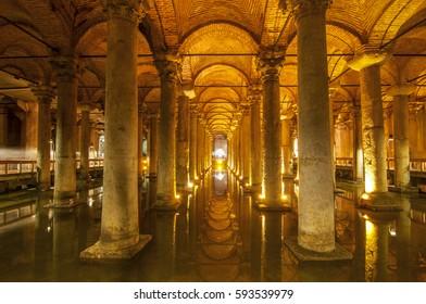 June 5, 2015. Interior of the Basilica Cistern, Yerebatan Sarayi, Istanbul Turkey.