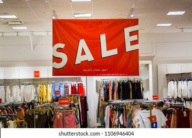 June 5, 2018 Milpitas / CA / USA - Large Sale sign in a clothing store