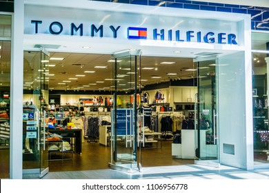 June 5, 2018 Milpitas / CA / USA - Tommy Hilfiger store entrance at the Great Mall, south San Francisco bay area