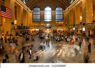 June 5, 2018, New York, New York, USA - Passengers walking in great hall of Grand Central Station