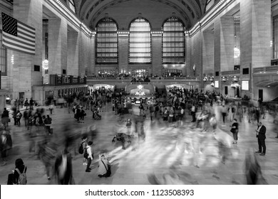 June 5, 2018, New York, New York, USA - Passengers walking in great hall of Grand Central Station in black and white