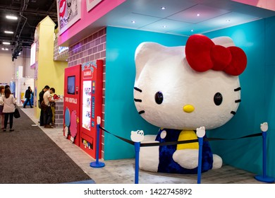 June 5, 2019, LAS VEGAS, NEVADA, USA, Guests Are Greeted by a Giant Hello Kitty Plush Doll at the Sanrio Booth at the 2019 Licensing Expo Trade Show