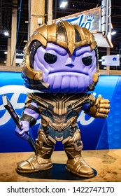 June 5, 2019, LAS VEGAS, NEVADA, USA, A Giant Thanos Toy from the Marvel Avengers Movie Greets Guests at the Funko Booth at the 2019 Licensing Expo Trade Show