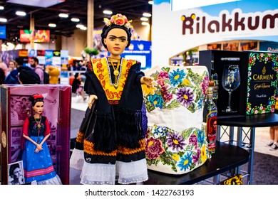 June 5, 2019, LAS VEGAS, NEVADA, USA, Dolls, Clothing, and Many More Products Are Displayed at the Frida Kahlo Booth at the 2019 Licensing Expo Trade Show