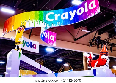 June 5, 2019, LAS VEGAS, NEVADA, USA, Colorful Booth Signage Guides Guests to the Crayola Booth at the 2019 Licensing Expo Trade Show