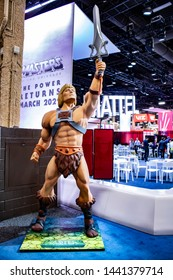 """June 5, 2019, LAS VEGAS, NEVADA, USA, Giant He-Man """"Masters of the Universe"""" Mannequin Greets Guests at the Mattel Booth at the 2019 Licensing Expo Trade Show"""