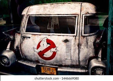 June 5, 2019, LAS VEGAS, NEVADA, USA, A Replica of the Ghostbusters Car Ecto-1 Welcomes Guests at the Sony Pictures Booth at the 2019 Licensing Expo Trade Show
