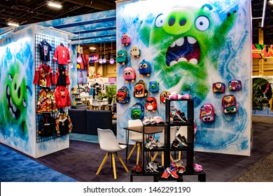 June 5, 2019, LAS VEGAS, NEVADA, USA, Green Pigs Pop from the Booth Artwork at the Rovio Angry Birds Booth at the 2019 Licensing Expo Trade Show
