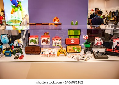 June 5, 2019, LAS VEGAS, NEVADA, USA, Several Licensed Gaming Products Are on Display at the Nintendo Booth at the 2019 Licensing Expo Trade Show