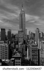 JUNE 6, 2018 - NEW YORK, NEW YORK, USA  - Empire State Building New York, NY in black and white