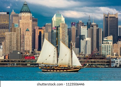 JUNE 6, 2018 - NEW YORK, NEW YORK, USA  - Hudson River and Manhattan Skyline with sailboat